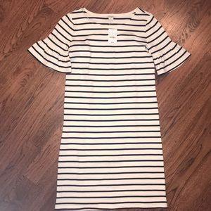 J. Crew Factory ruffle sleeve striped dress